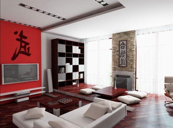 Интерьер гостиной в японском стиле фото