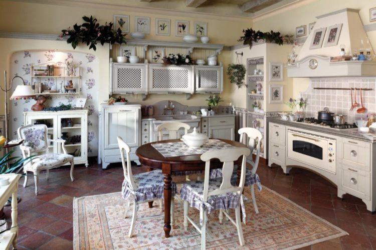 Кухня в белом цвете в стиле прованс