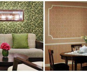Текстильные обои в интерьере квартиры — фото.