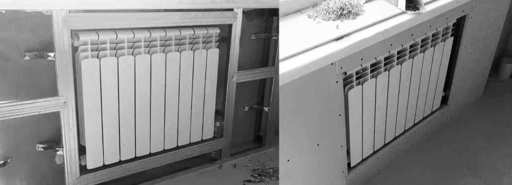 Спрятанный радиатор отопления под гипсокартоном.