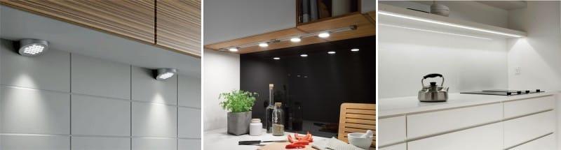 На фото показаны варианты освещенные кухонной столешницы