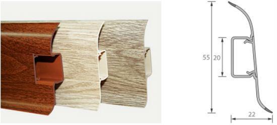Пример размера длины и ширины напольного плинтуса.