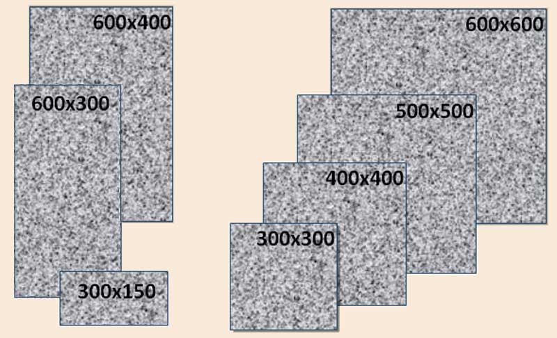 Виды и размеры гранитных плит.