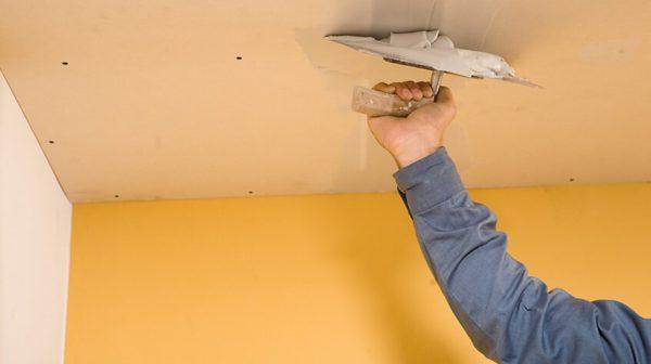 Штукатурка потолка из гипсокартона под покраску