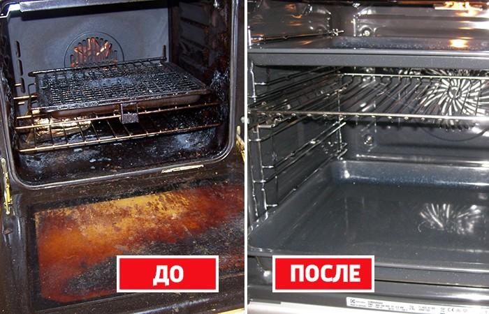 Грязная и чистая духовка
