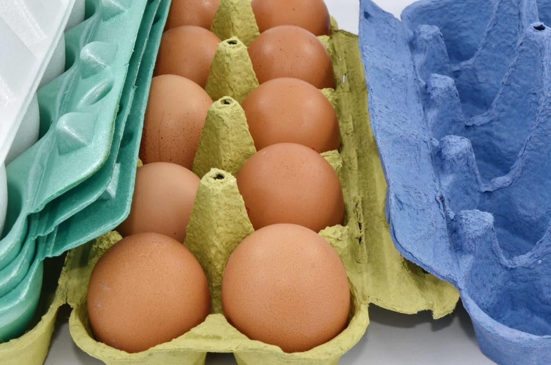 Яйца в картонной коробке