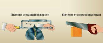 Пиление столярной и слесарной ножовкой