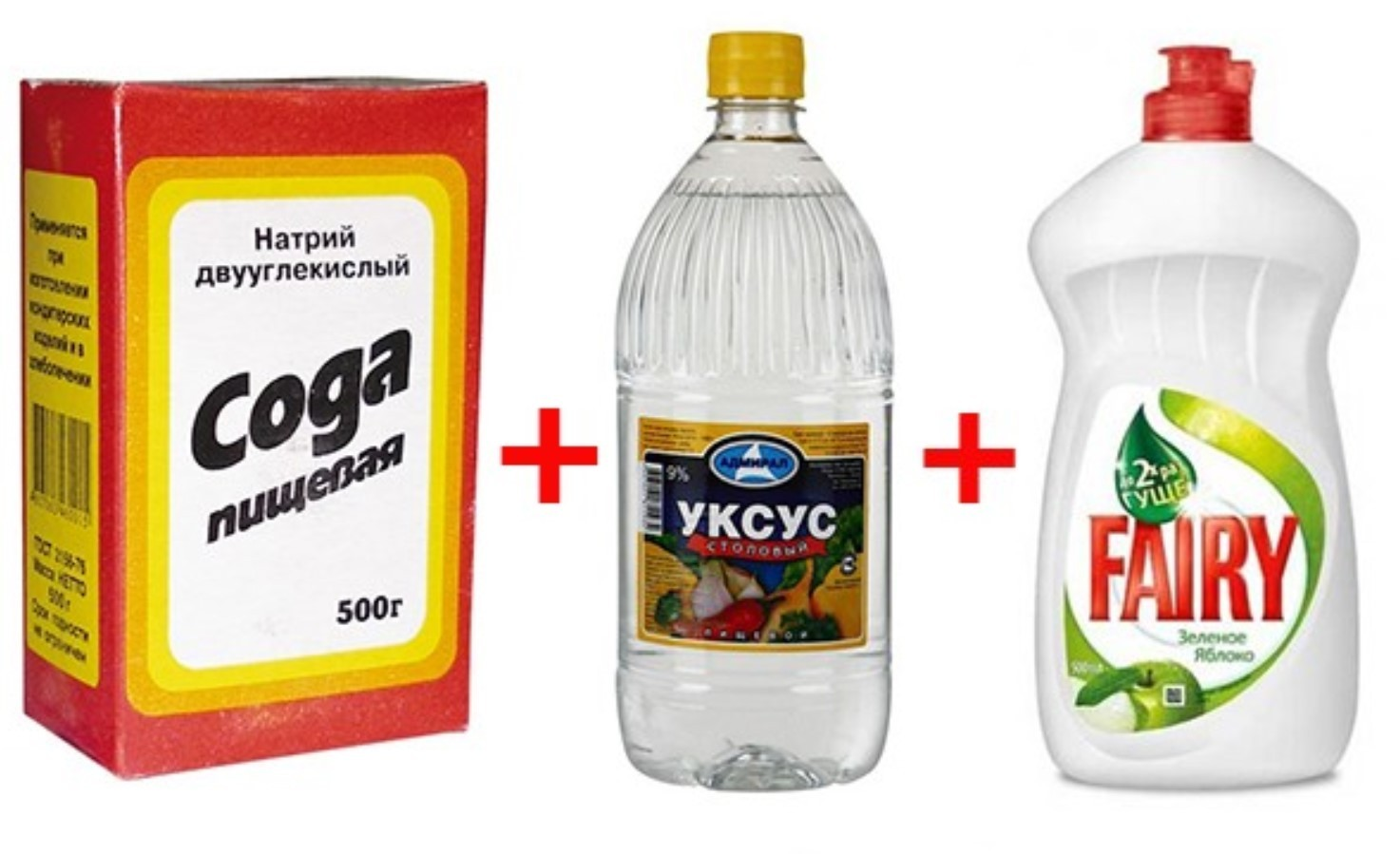 Сода, уксус, моющее средство